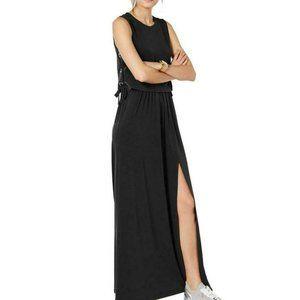 Michael Kors Black Grommet Lace-up Maxi Dress M